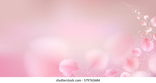 Pink sakura falling petals vector background. 3D romantic illustration. creative soft color design for greeting card, flyer, invitation, poster, brochure, banner template with copy space