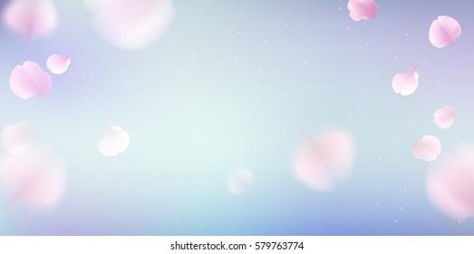Pink sakura falling petals vector background. 3D romantic illustration with copy space