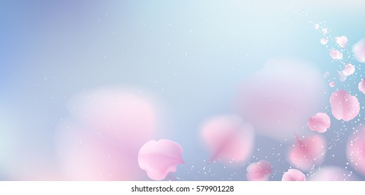 Pink sakura falling petals vector background. 3D romantic illustration with copy space