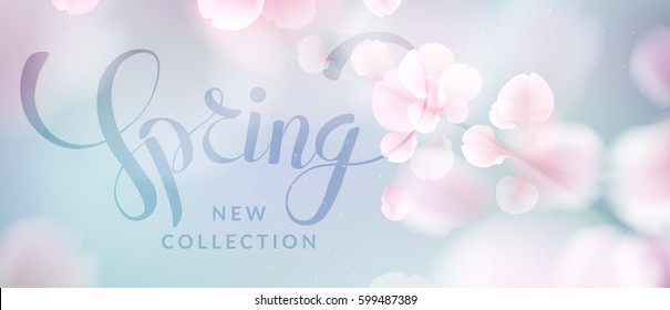 Pink sakura falling petals vector background. 3D romantic illustration with Spring new collection text. creative soft color design for poster, brochure, banner template with copy space