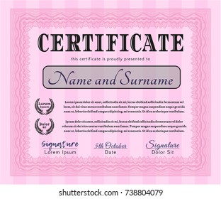 Pink Sample certificate or diploma. Good design. With guilloche pattern. Customizable, Easy to edit and change colors.