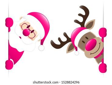 Pink Santa Claus And Reindeer Looking Inside Banner