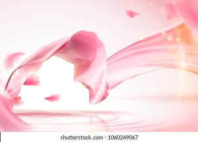 Pink satin background, smooth fabric with shimmering effect and flying petals in 3d illustration