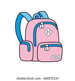 Pink school knapsack bag or backpack isolated.