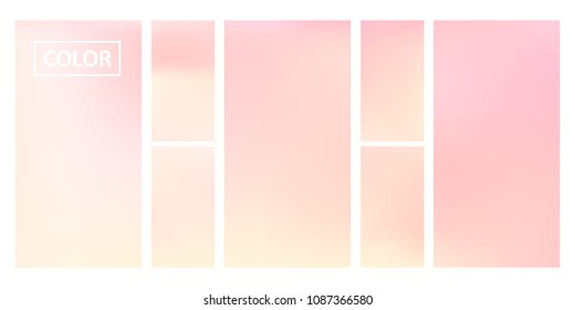 Pink screen gradient set with modern abstract backgrounds. Colorful fluid cover for poster, banner, flyer and presentation. Template with screen gradient set for screens and mobile app. Soft color.