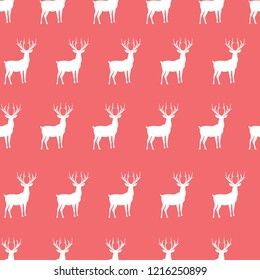 Pink seamless deer christmas pattern vector