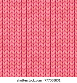 Pink Seamless knitted pattern. Woolen cloth. Christmas Red Knitted Pattern for greeting card, banner, backgrounds, wallpaper. Vector illustration.