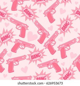 Pink seamless pattern with gun, bang and heart. Funny background. Happy Valentine's Day.