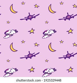 Pink seamless pattern with moon, stars, plane and clouds. Design for wallpaper and wrapping, fabric and textile. Vector illustration.