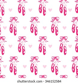 Pink seamless pattern with pointe shoes and hearts.