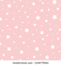 Pink seamless pattern stars geometric background Sweet pink template design for girl baby shower invitation Abstract vector illustration for xmas wallpaper, wrap, fabric, textile cloth Dotted pattern