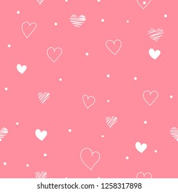 Pink seamless pattern Valentine's Day with white hearts. Valentine endless ornament with beautiful drawing hearts