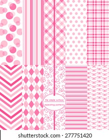 Pink seamless patterns for baby shower, scrapbook paper, cards, invitations, gift wrap and more. Includes: circles, polka dots, stripes, gingham/plaid, chevron, argyle, floral, and butterfly prints.