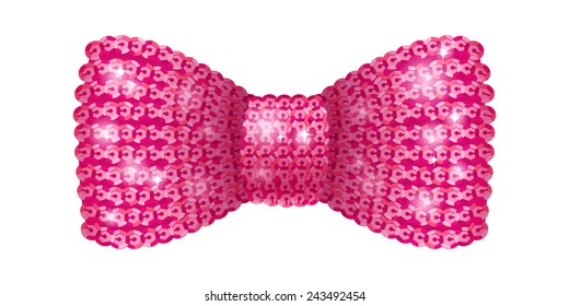 Pink sequins bow tie. Glamorous glitter formal wear. Decoration element.