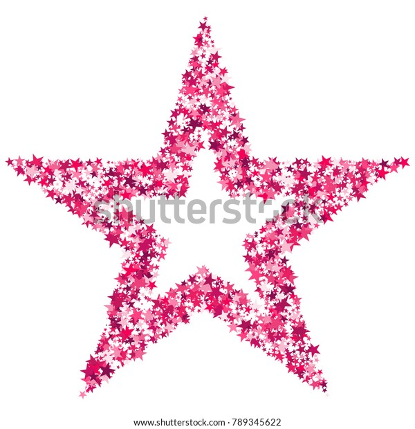Pink Sequins. Bright Pink Stars on a White Background. Modern Fashionable Background. Pink Sequins Background for Wrapping Paper, Postcards, Banners, Prints. Abstraction with Pink Stars.