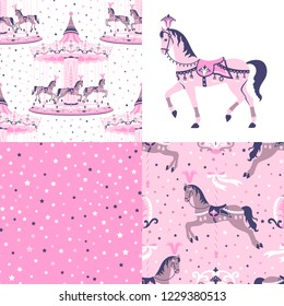 Pink set, collection of carousel, merry-go-round, roundabout seamless patterns with horses and stars. Vector illustration can be used for textile, wallpaper, greeting card backdrop. Vintage style.