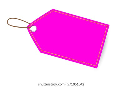 Pink  Shining Blank Tag, with Golden List, isolated on white