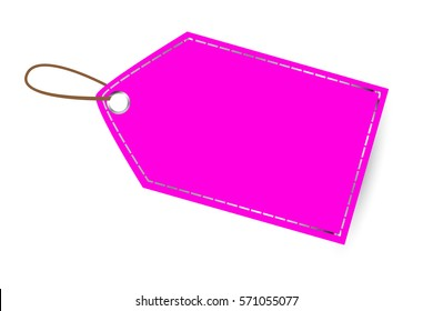 Pink Shining Blank Tag, Isolated on White