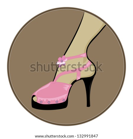 Pink Shoes Flowers Thin Black Heels Stock Vector Royalty Free