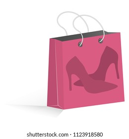 pink shopping bag with women shoes. vector illustration eps 10