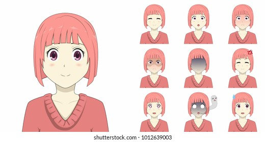 Pink short hair anime girl emotions pack