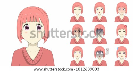 Pink Short Hair Anime Girl Emotions Stock Vector Royalty Free