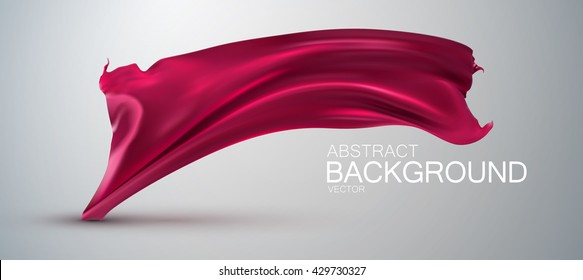 Pink silk fabric. Vector illustration with pink satin or silk fabric. Vector glossy textile flag. Grand business opening or fashion concept