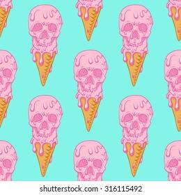 Pink skull - ice cream.Seamless pattern background.Blue background.