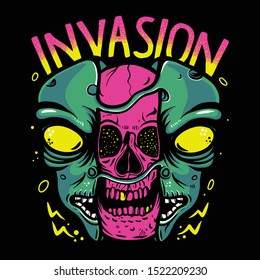 pink skull inside alien head for invasion vector illustration