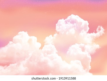 Pink sky background with white clouds.Sugar cotton pink clouds vector design background. Fantasy pastel color.Pastel sky vector background.