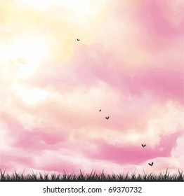 Pink sky and butterfly banner
