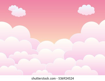 Pink Sky with Clouds. Cartoon Background. Bright Illustration for Design.