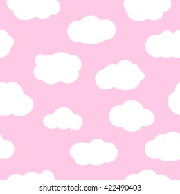 Pink sky with clouds, seamless pattern vector. White clouds seamless pattern design and baby art clouds seamless pattern. Baby shower clouds seamless pattern and baby shower texture design.