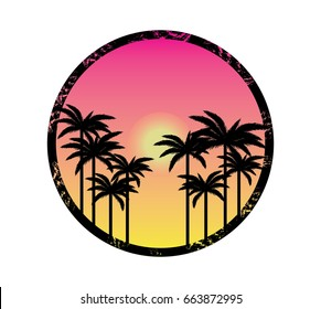 pink sky,sun and palm silhouettes vector illustration