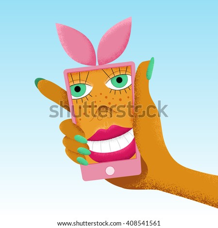 20c9a09d090cd Pink smart phone with bunny ears holding in woman hand. Cartoon smiling  woman selfie.