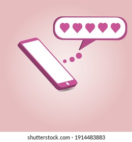 pink smart phone with chat bubble and love icon on it