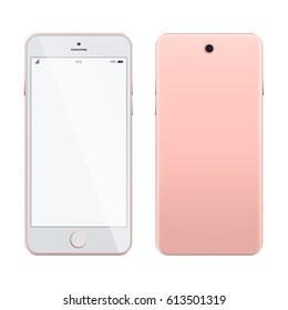 Pink smartphone mockup on white background. Realistic smartphone isolated on white background. Mobile phone mockup with blank screen on white background