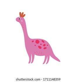Pink smiling dinosaur, large cartoon dino with long neck smiling, extinct animal in hand drawn comic style, funny friendly character for kids isolated on white background, vector illustration