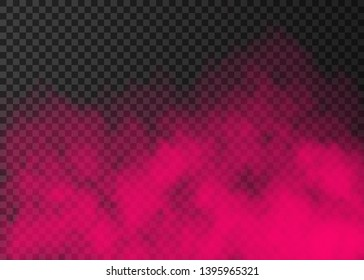 Pink smoke  isolated on transparent background.  Steam special effect.  Realistic  colorful vector fire fog  or mist texture.