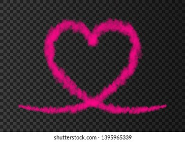 Pink smoke  plane  heart trail isolated on transparent background.  Love. Steam  effect.  Realistic  vector fog or cloud  for Valentine day banner template .