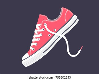 Pink sneakers. Sport shoes. Vector illustration