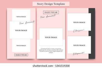 Pink social media  Instagram story design template set for fashion, cosmetic, event, or promotion with edgy collage photo layout