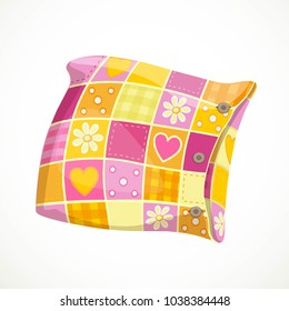 Pink soft pillow in a patterned pillowcase object isolated on a white background