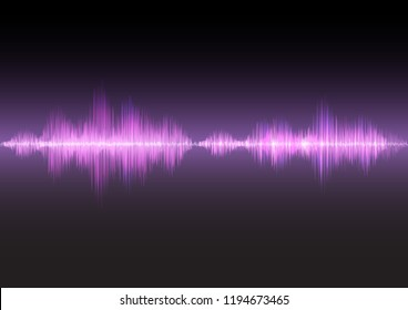 Pink sound waves glow light, stock vector