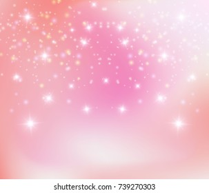 Pink sparkling background, vector illustration. Princess background, shining stars, star dust, celebration abstract wallpaper.