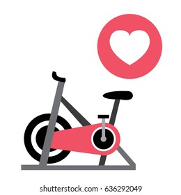 Pink Spinning Bike and Heart Vector