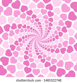 Pink spiral heart pattern background, hypnotizing tunnel. Symbolic for rapture of love, confusion of love, love charm. Illustration in white background