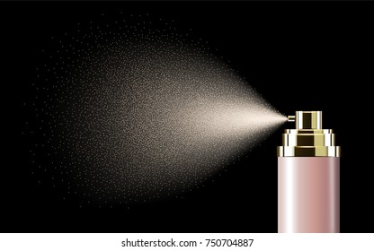 Pink spray bottle, blank container with spraying mist in 3d illustration isolated on black background