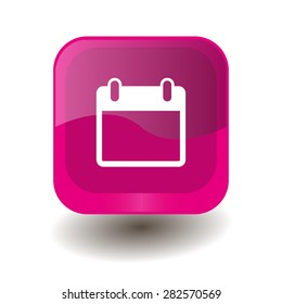 Pink square button with white calendar sign, vector design for website