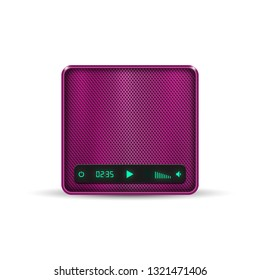 Pink square portable wireless speaker on white background. Wireless mobile speaker system. Vector illustration.